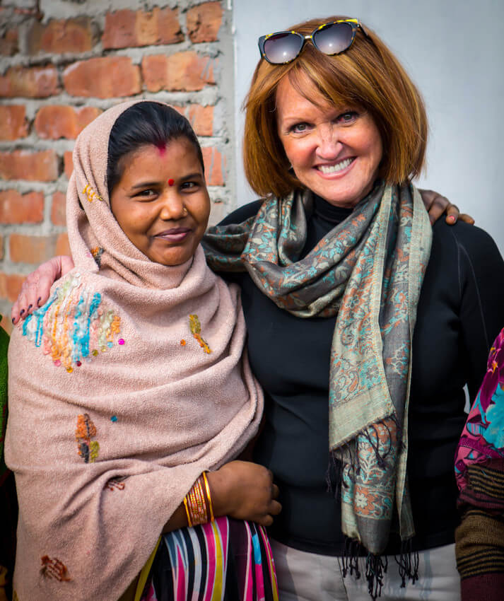 Vicki with a client in Delhi, India
