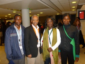 (From left) Grey Katsilizeni, Makonen Getu, Mwawi Nkhonjera and Agnes Kwelete at last week's Child & Youth Finance International Summit in Amsterdam.