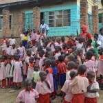 Children and teachers at Kampala's Rise and Shine School.