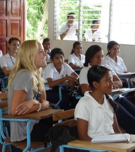 Malin Akerman learns alongside students of the Emprendedora School in Nicaragua.