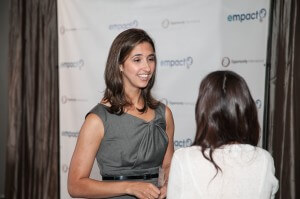 Nicole meets young entrepreneurs and other Opportunity supporters at an Empact Pledge Reception in June.