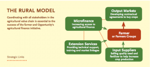 An overview of the agricultural value chain, part of Opportunity's rural microfinance model.