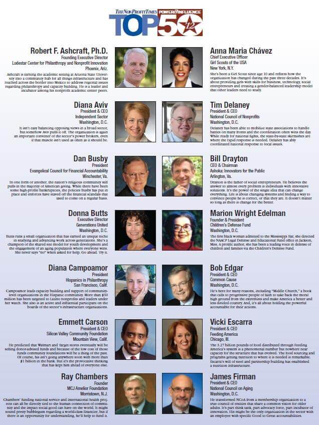 "Vicki Escarra on ""The Non-profit Times"" Power & Influence Top 50. Click on the image to read the article."
