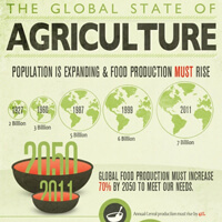 Infographic by USAID on the global state of agriculture and the importance of empowering women farmers.