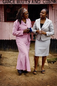 Felicitus and her Opportunity Kenya loan officer, Annie Wanjero.
