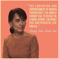Aung San Suu Kyi–The Burmese democracy activist is a symbol of hope to the world.