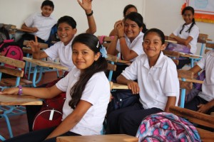 Smiling seventh-graders at Emprendedora School in Granada, Nicaragua.