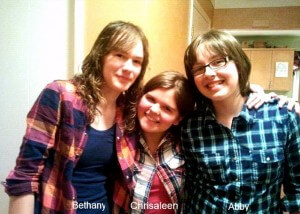 "Three junior high Opportunity supporters go ""Plaid for People"" and tell their story on Opportunity Canada's blog. (From left: Bethany, Chrissy and Abby)."