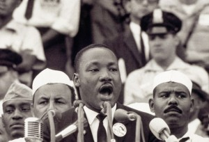 "Martin Luther King, Jr. makes his ""I Have a Dream"" speech, August 28, 1963, in Washington, D.C. (Photo: Corbis/History.com)"