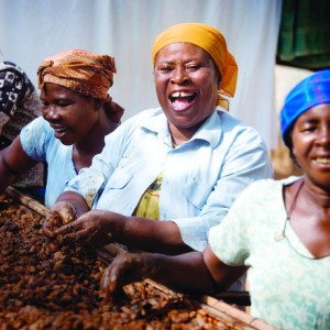 Beatrice Boaten and her fellow members of the Nerebehi Cocoa Farmers Association process the cocoa harvest together in Ghana.