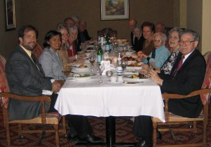 Dinner on the 2005 trip to Canada with Ross Clemenger and his late wife Gerri (right), and Opportunity Colombia's Jim Frantz and Mitzi Machado (left).