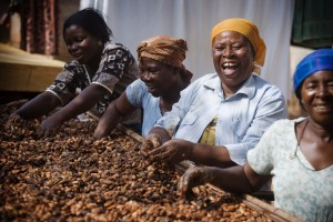 "Beatrice Boaten (second from right), a farming client with the Nerebehi Cocoa Farmers Association in the Ashanti region of Ghana. Beatrice, the cover subject for our 2010 Annual Report, has not only had financial success but embodies the ""human flourishing,"" the pure joy, of freedoms."