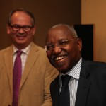 The Governor of DRC's Central Bank (right) and Colin McCormack, Opportunity's Managing Director, Africa.