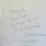 We found a sweet thank you message on the board when we arrived.