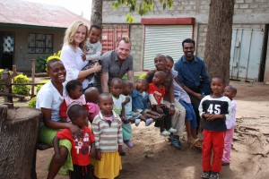 Roberto and I with Opportunity Tanzania's COO Ross Nathan (right) and children at the Faraja Centre.