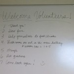 Our instructions and welcome note on the whiteboard.