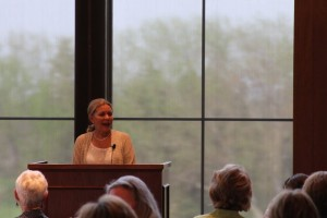 Betty Jane Hess addresses the attendees of Tuesday's Joy in Giving event.