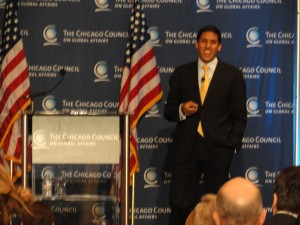 Dr. Rajiv Shah at the Nov. 17th talk in Chicago.