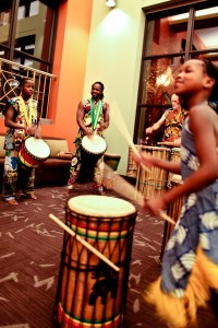 African musical group Duniya Drum & Dance performs.