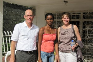 Steve and Kathy Waters meet an Opportunity client (center) in 2011 on an Insight Trip to Colombia.