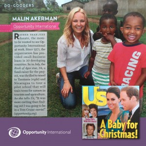 "Malin is an ""US Weekly"" Do-Gooder, pictured on her March visit to Tanzania with Opportunity."