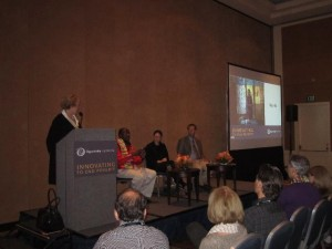 Banking on Education panel (from left): Char Caldwell, Geoffrey Thige, Liesel Pritzker, and Steve Nelson.