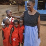 Rosemary with her students at the Nadulu Infant Primary School in Kampala.