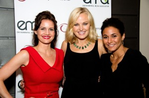 From left: actresses Carla Gugino, Malin, and Emmanuelle Chriqui.