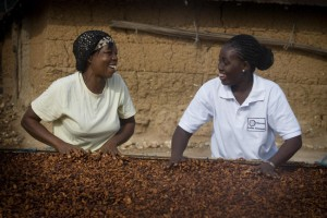 Client Agnes Fosu Hene (left) is a cocoa farmer in the Ashanti region of Ghana, getting guidance and support from her loan officer, Abena Agyakowa Nketha Sarpong (right).