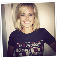Actress Malin Akerman wore her Opportunity shirt for World Food Day this week to promote an end to global hunger.