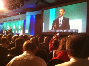 Pres. Obama addresses attendees at the plenary session.