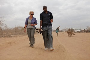 Dikembe Mutombo and Cindy McCain in Nairobi, Kenya.