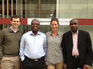 Christy at the Arusha branch with leadership from Opportunity Tanzania & MicroEnsure (From left: Ryan Lynch; Stanley Tsikirayi; Christy Turlington Burns; Dr. Nicholas Adams, senior medical officer, MicroEnsure).