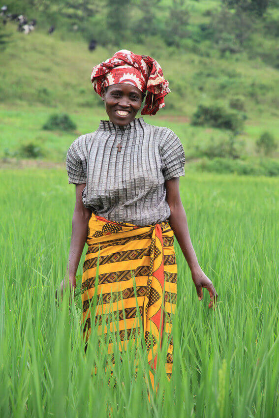 Eugenie Nyirabagenzi, a rice farmer that Opportunity International is serving in Rwanda